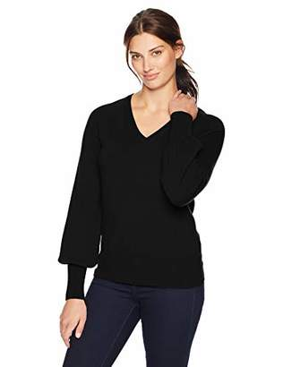 Lark & Ro Women's 100% Cashmere V-Neck Sweater with Bell Sleeves