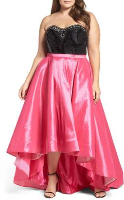 Mac Duggal Embellished Lace & Taffeta Strapless High/Low Gown