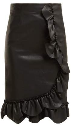 Rebecca Taylor Ruffled Faux Leather Pencil Skirt - Womens - Black