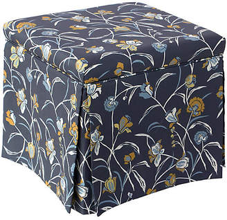 One Kings Lane Anne Skirted Storage Ottoman - Navy Floral Linen