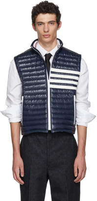 Thom Browne Navy Down Quilted Four Bar Vest