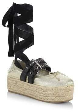 Miu Miu Leather Ankle-Wrap Platform Espadrilles
