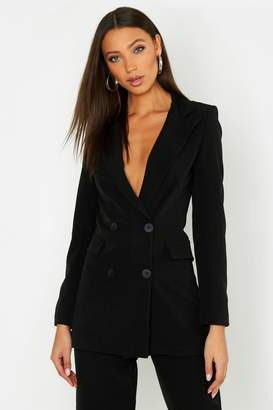 boohoo Tall Button Front Woven Tailored Blazer