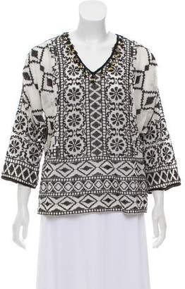 Antik Batik Embroidered Fringe-Trimmed Top