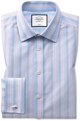 Charles Tyrwhitt Slim Fit Non-Iron Pink and Blue Multi Stripe Cotton Dress Shirt French Cuff Size 16/36