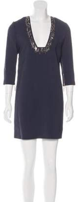 Thomas Wylde Embellished Mini Dress Navy Embellished Mini Dress