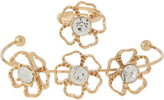 Monsoon Wire Flower Cuff & Ring Set