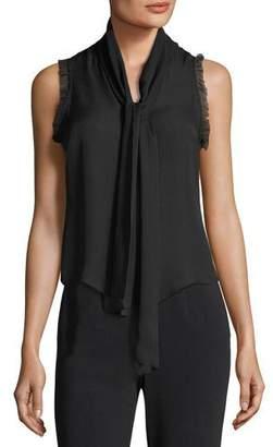 Cinq à Sept Eri Tie-Neck Button-Front Sleeveless Silk Blouse