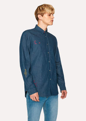 Paul Smith Men's Tailored-Fit Indigo Denim Shirt With Embroidered Doodles
