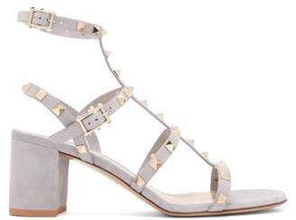 Valentino Rockstud Block Heel Suede Sandals - Womens - Grey