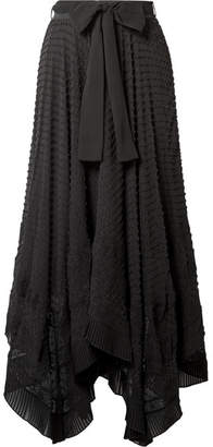 Zimmermann Hanky Lace-trimmed Swiss-dot Silk-georgette Skirt - Black