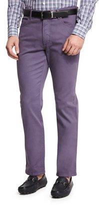 Ermenegildo Zegna Five-Pocket Stretch-Cotton Pants, Purple $345 thestylecure.com