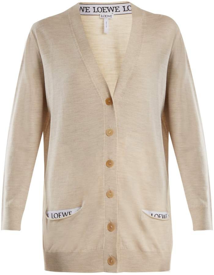 LOEWE V-neck wool-blend cardigan