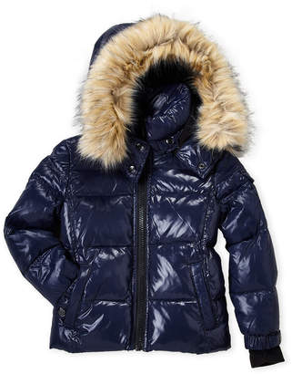 S13 (Toddler Boys) Faux Fur Downhill Down Coat