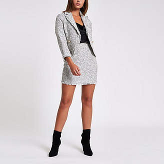 River Island White check boucle jacket