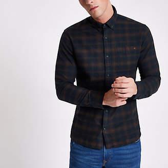 River Island Jack and Jones Premium tan and navy check shirt