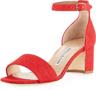 Manolo Blahnik Laura Tomod Linen Ankle Sandal