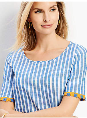 ccb2e5a5d1 Talbots Pacific Stripe Fringe-Sleeve Top