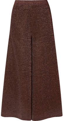 Missoni Cropped Silk-blend Lurex Wide-leg Pants - Bronze