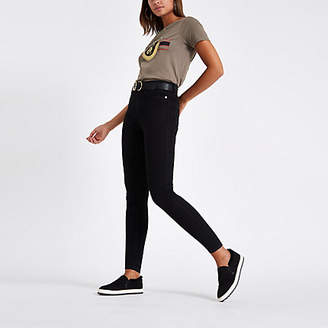 River Island Khaki 'Amour' print fitted T-shirt