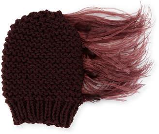 Gigi Burris Claudelle Wool-Cashmere Knit Beanie w/ Feather Plume