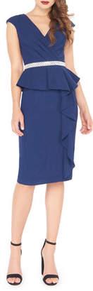 Mac Duggal V-Neck Cap-Sleeve Knee-Length Peplum Dress