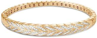 John Hardy 18K Yellow Gold Modern Chain Pavé Diamond Hinged Bangle