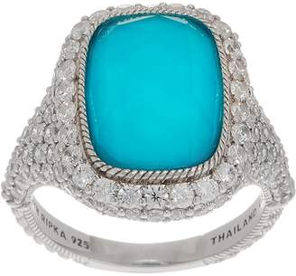 Judith Ripka Sterling Silver Turquoise & Diamonique Doublet Ring