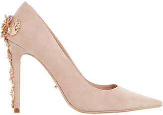 Dune Boston Ivy Embellished Stiletto Court Shoes, Blush Suede