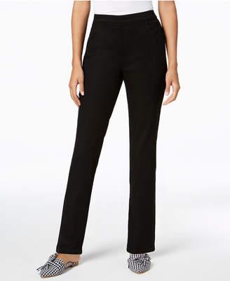Karen Scott Petite Pull-On Straight-Leg Jeans