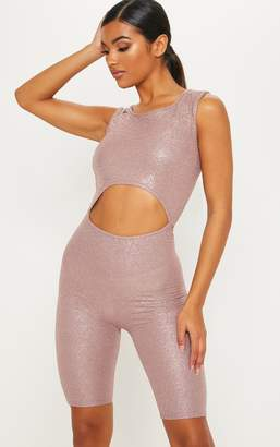 PrettyLittleThing Nude Glitter Textured Cut Out Unitard
