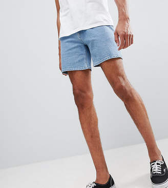 Asos DESIGN Tall Denim Shorts In Skinny Light Wash Blue Shorter Length