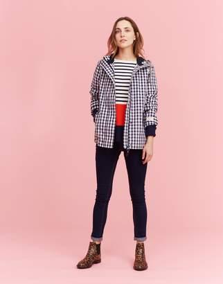 Joules Clothing Navy Rose Gingham Coast Printed Waterproof Jacket