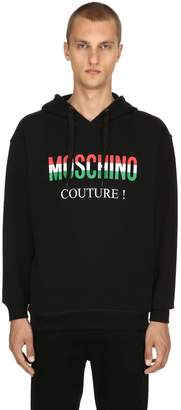 Moschino Italy Logo Hooded Cotton Sweatshirt