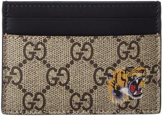 Gucci Tiger Print Gg Supreme Canvas Card Case