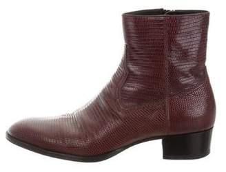 Saint Laurent Wyatt Lizard Ankle Boots