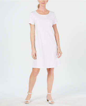 Karen Scott Petite Cotton Seam-Detail Dress