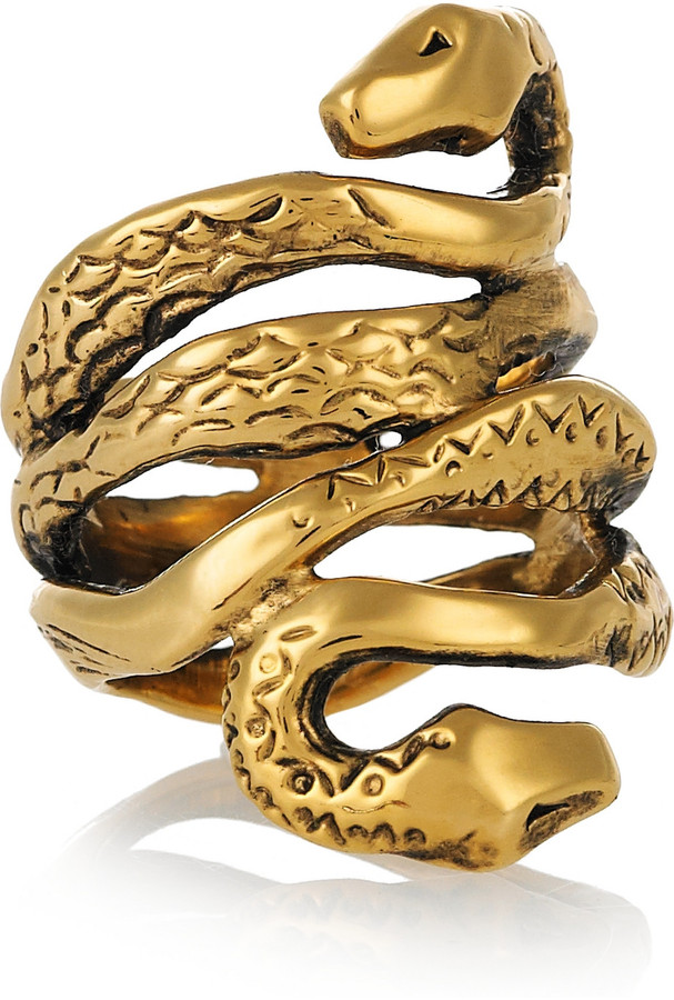 Aurelie Bidermann Mamba 18-karat gold-plated ring