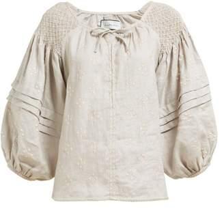 Innika Choo Oliver Daily Smocked Linen Blouse - Womens - Grey