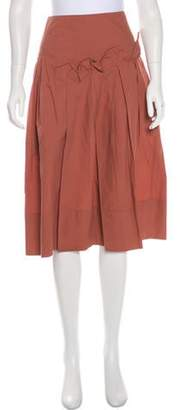 Marni Knee-Length Pleated Skirt Coral Knee-Length Pleated Skirt