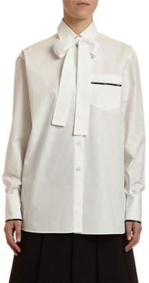 Valentino Long-Sleeve Button-Front Blouse