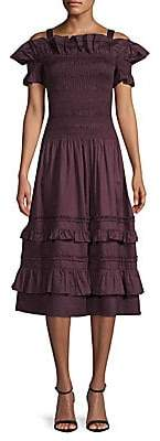 Rebecca Taylor Women's Off-The-Shoulder Smocked Cotton Dress - Size 0