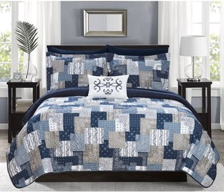 Chic Home Viona 6 Piece Reversible Quilt Coverlet Set Embossed Bed in a Bag