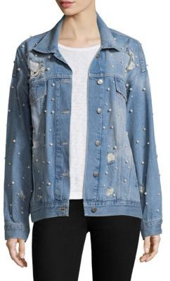 Free People Sunday Funday Pearl Cotton Denim Trucker Jacket