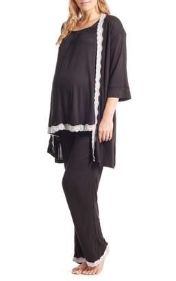Everly Grey Carina Maternity/Nursing Pajamas & Robe Set