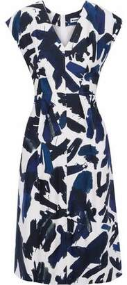 Jil Sander Pleated Printed Cady Dress