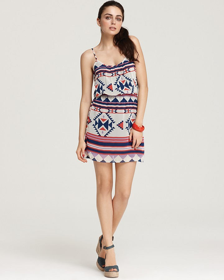 Aqua Dress - Tribal Print Cinch Waist