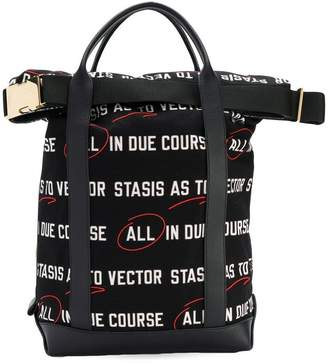 Sacai All In Due Course print tote bag