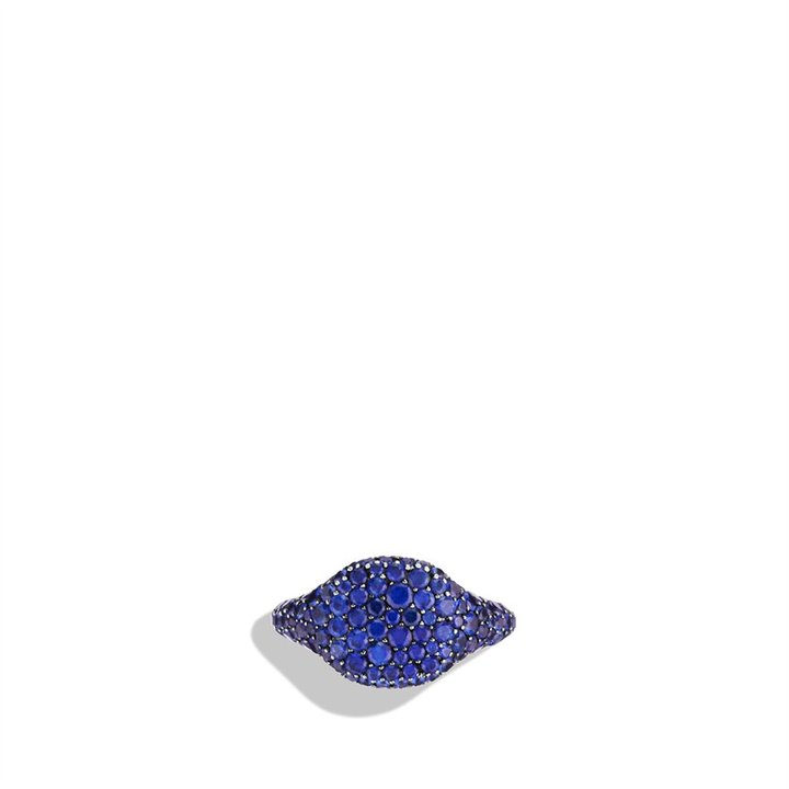 David Yurman Petite Pavé; Pinky Ring with Blue Sapphires in White Gold