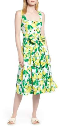 1901 Button Front Lemon Print Dress